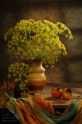 Dill flowers and Persimmon still life