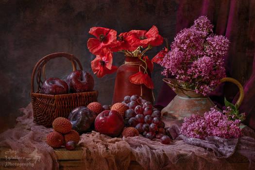 Poppies, Red Valerian and fruit still life
