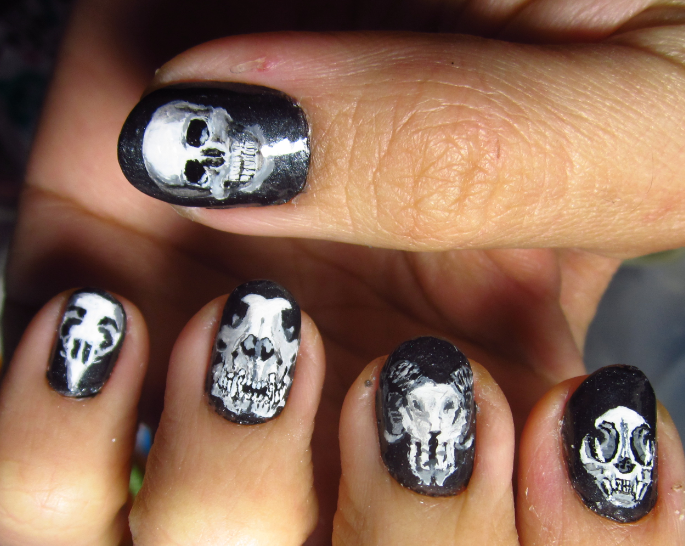 Freehand Skull Nail Art by Rainwound ... - Freehand Skull Nail Art By Rainwound On DeviantArt