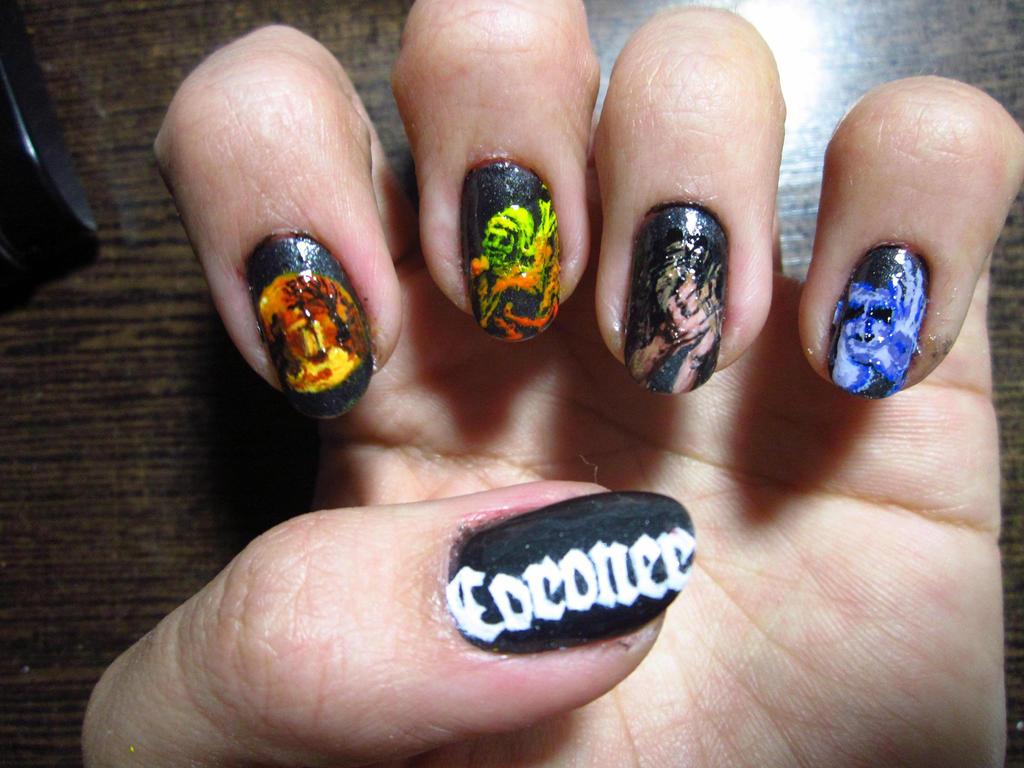 Thrash Metal Nail Art: Coroner by Rainwound on DeviantArt