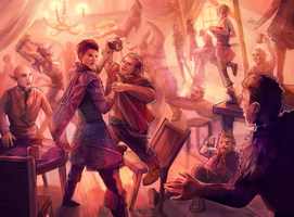Tavern fight by Yunipar