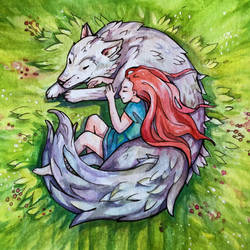 Dreaming of a wolf by Yunipar