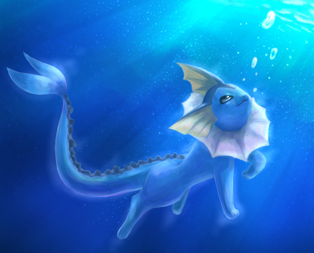 Vaporeon-swimming-underwater by Nickybul on DeviantArt