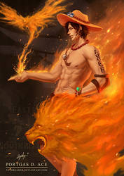 Art Trade: Fire Fist Ace by TOYDREAMER