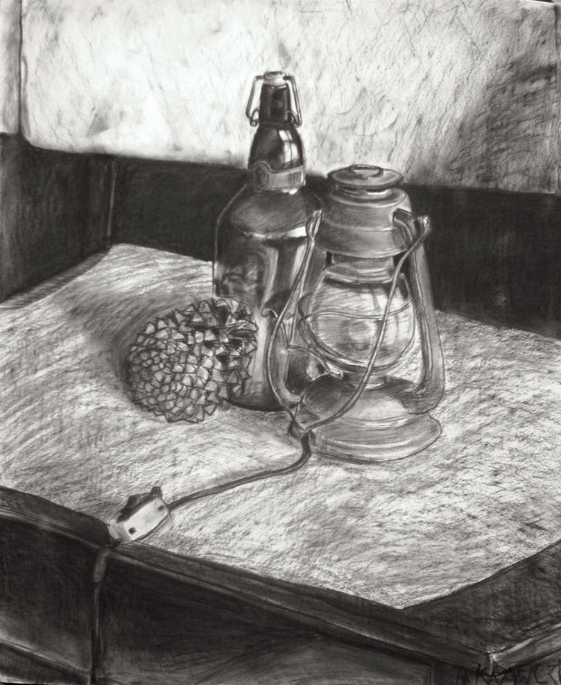 Still life with bottle and lamp by akrawczyk83