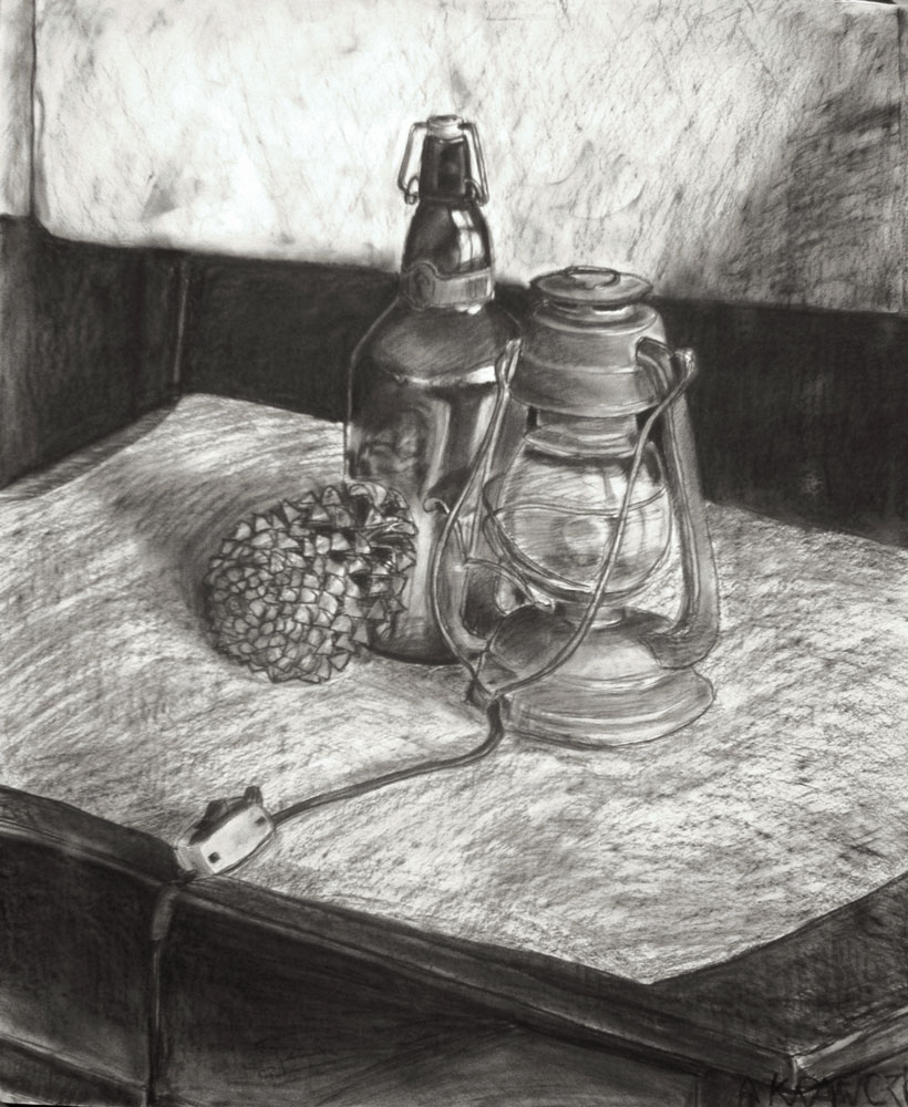 Still life with bottle and lamp