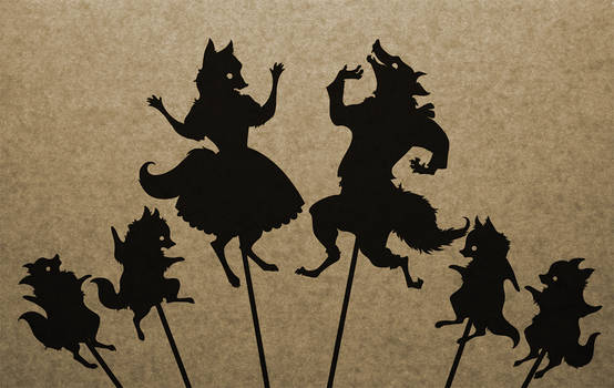 Fox Family Shadow Puppet Collection