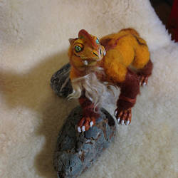 rust dragon (needle felted art doll for sale).