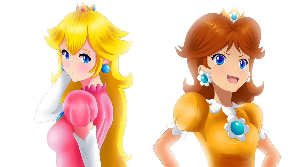 Peach and Daisy by Infogirl101
