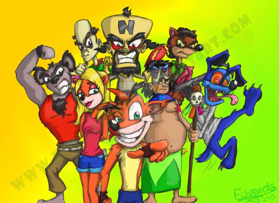 Crash Bandicoot-Original Cast by Echo-Gecko