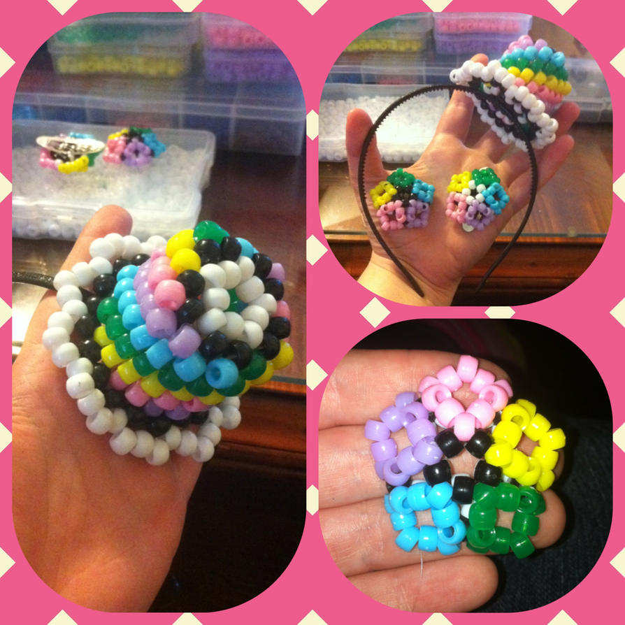 My Kandi top hat and kandi hair clips by Wolffy5683