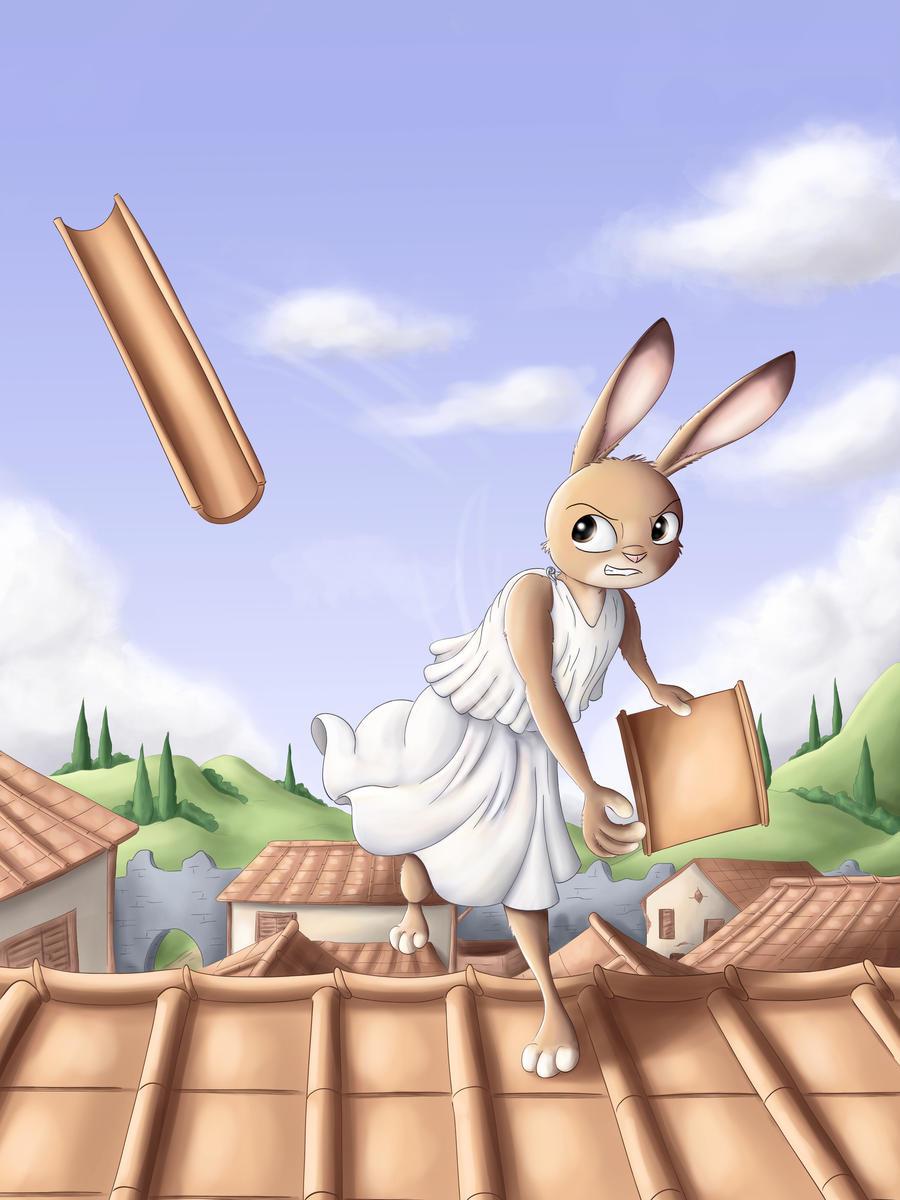 Warrior rabbits - Roof tile thrower