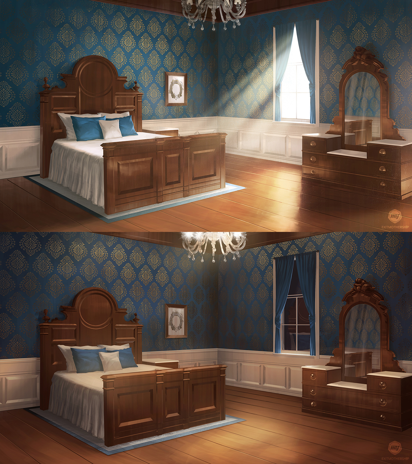Mansion Bedroom (VN Background) By ExitMothership On
