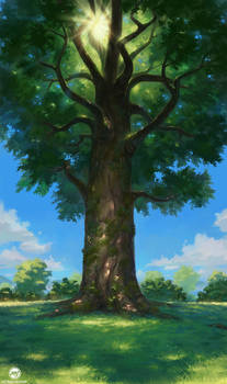 Commission: Tree On A Hill