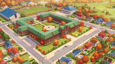 Commission: Highschool in the Suburbs by ExitMothership