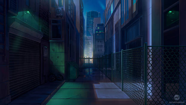 Commission: Back Alley at Night