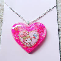 My Melody Pink Cherry Resin Heart