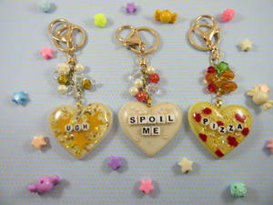 Word Resin Heart Charms