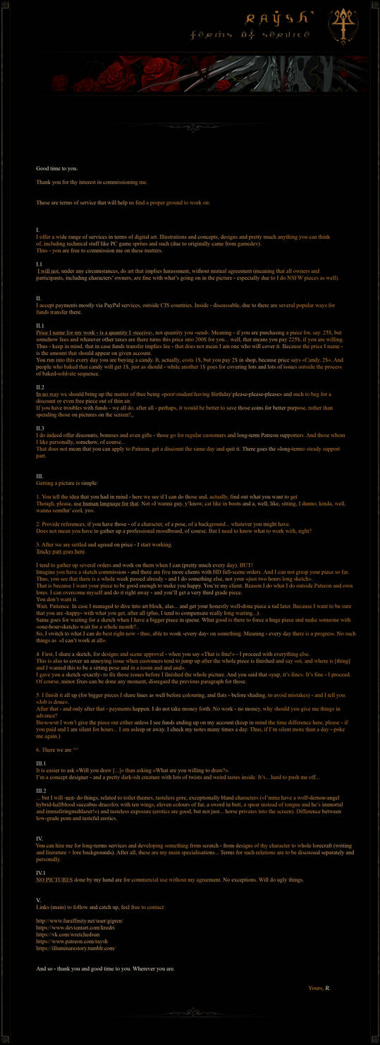 Terms of Service list