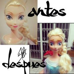 Elsa Doll Repaint - face by kykiochan