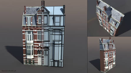 Apartment House Low poly 3d model by Cerebrate