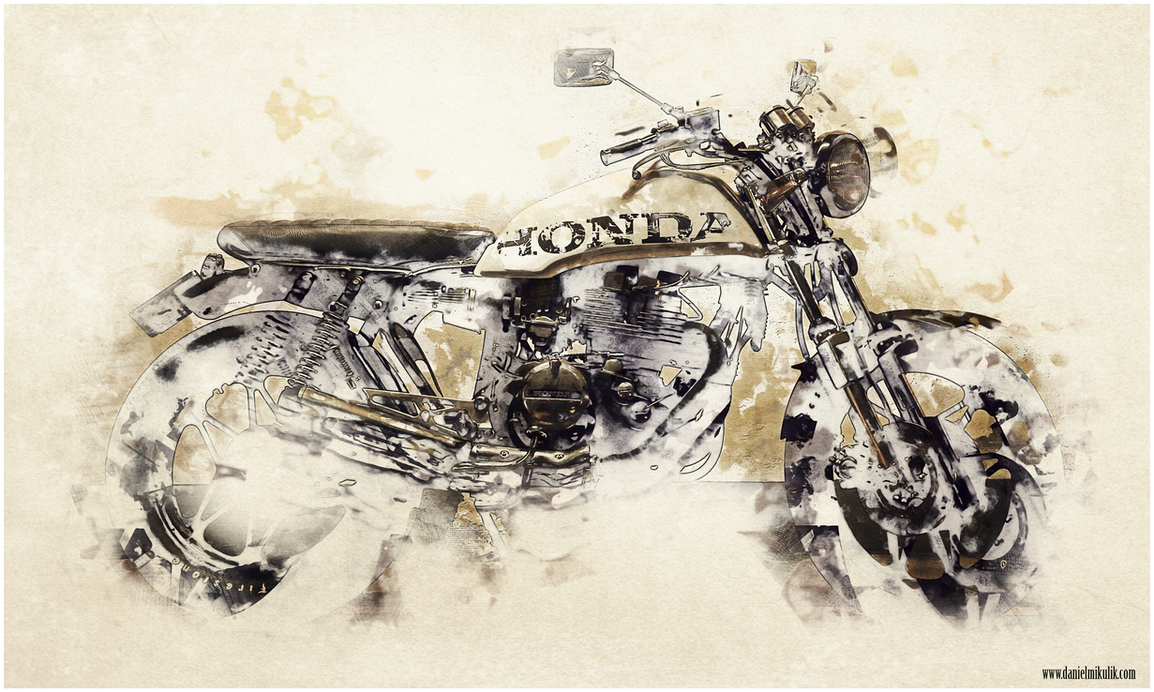 Cafe Racer Watercolor by Cerebrate