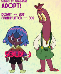 Adoptable Food OCs -Donut and Frankfurter