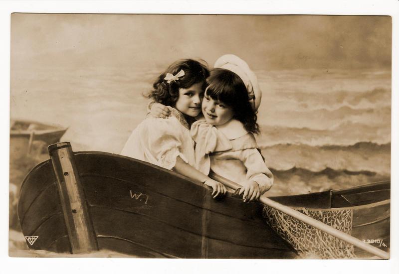 vintage - children in a boat
