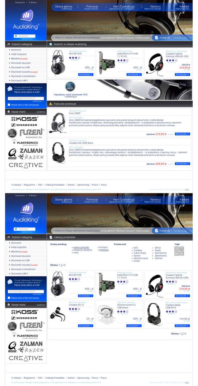 Audioking webstore layout