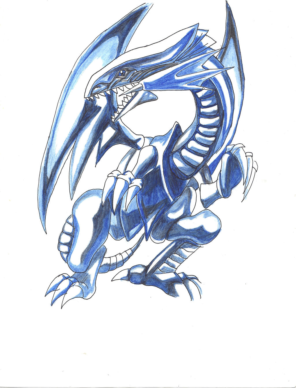 blue eyes white dragon by ca5sy on deviantart