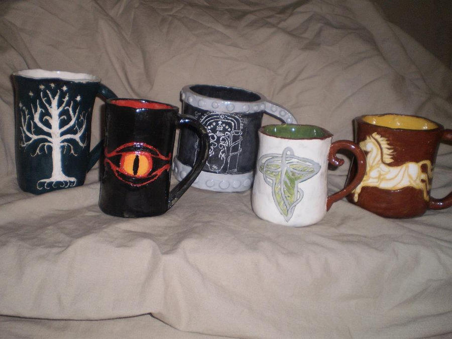 Lord of the rings mug set front view by feaenalata on deviantart