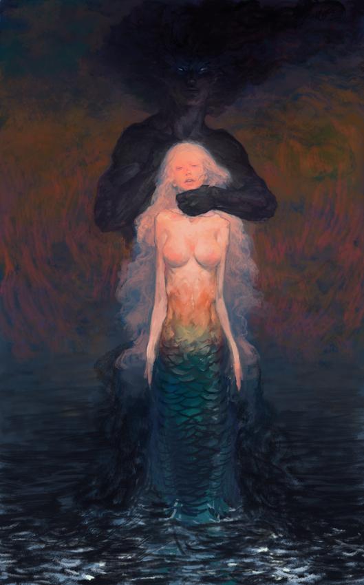Black dragon and mermaid by hoooook