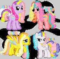 Rainbow curl ponies by Shokka-chan