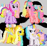 Rainbow curl ponies
