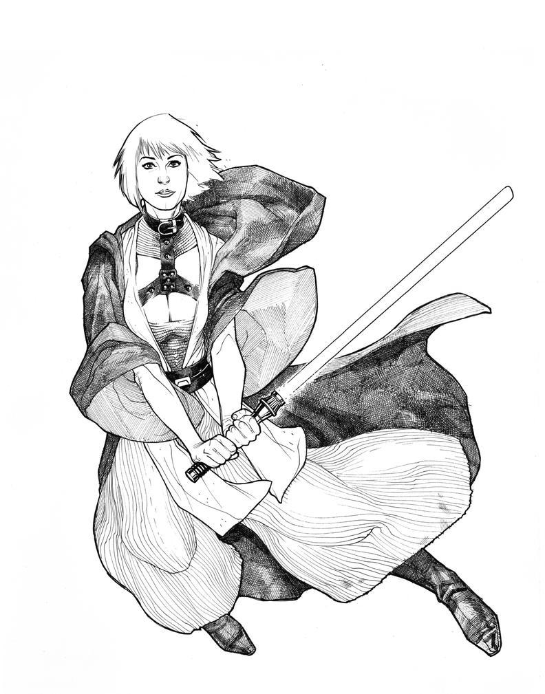 Jedi Mistress BW by StephaneRoux