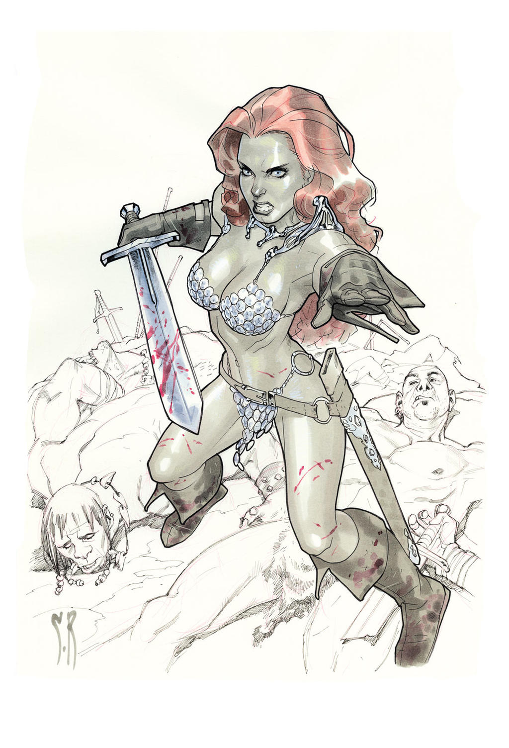 Red Sonja Sketch. Boston Comic con 2012 by StephaneRoux