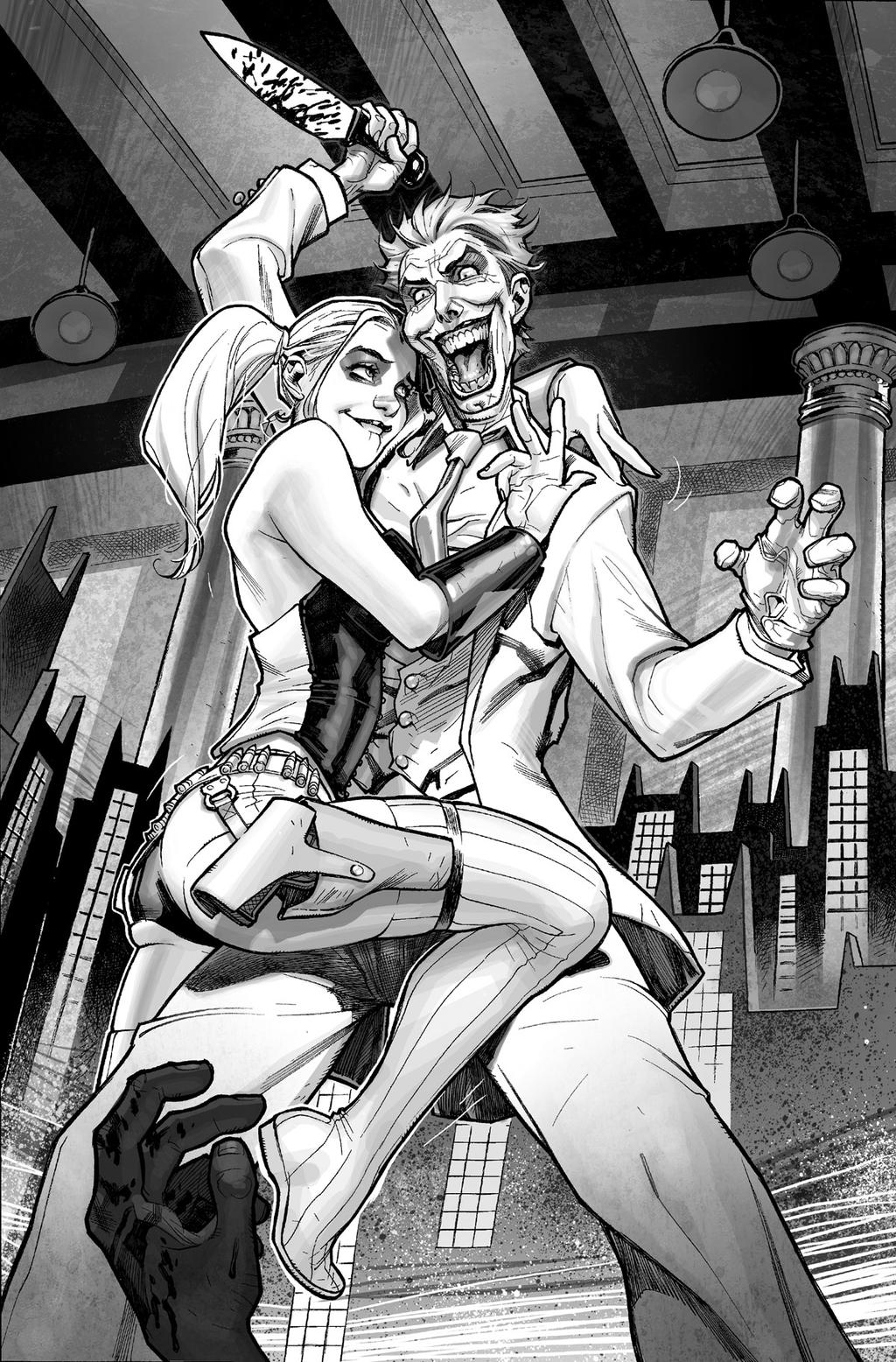Harley Quinn  Issue # 2 Page 1 Inks with Greytones by StephaneRoux