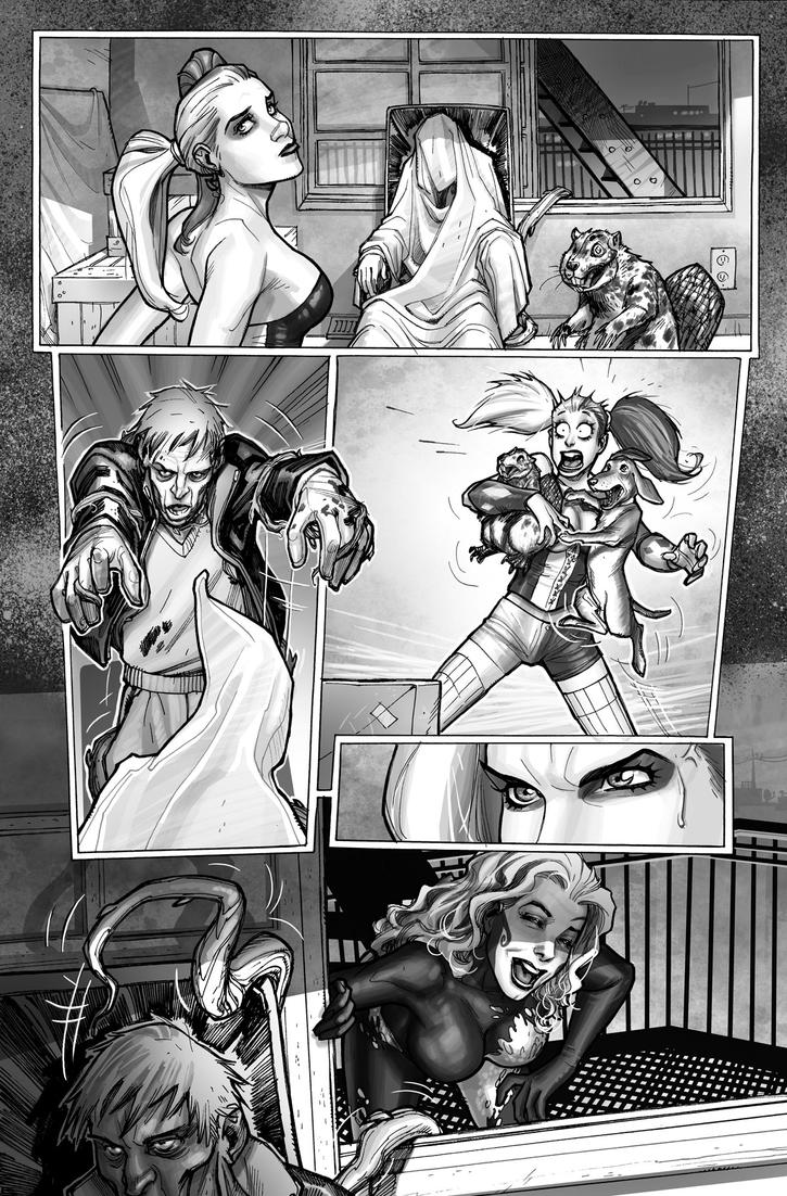 Harley Quinn  Issue # 2 Page 7 Inks with Greytones by StephaneRoux