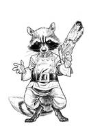 ROCKET RACCOON  BW by StephaneRoux