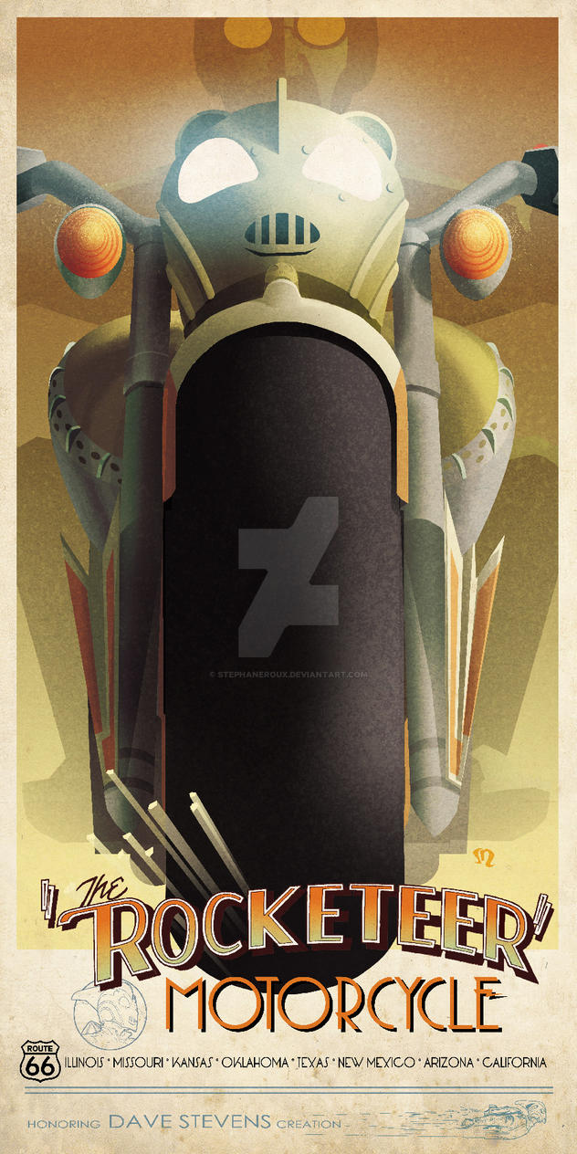 Rocketeer Custom motorcycle Cassandre-inspired Ad. by StephaneRoux