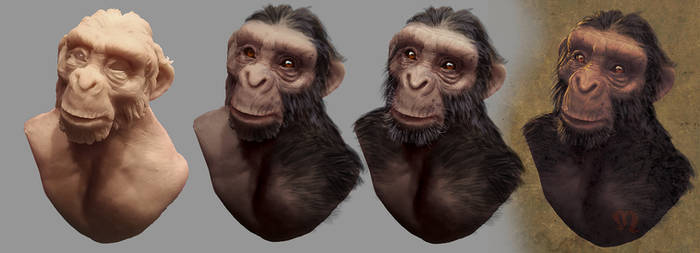 Chimpazee sculpted bust then photoshop tweaked
