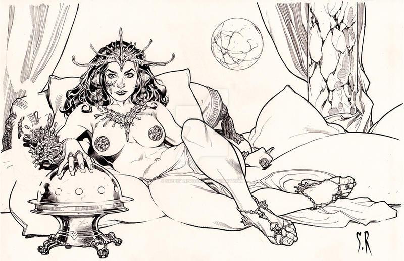Dejah Thoris Princess of Mars BW by StephaneRoux
