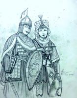 Knyaginya Olga Novgor and Sheika Ahu Durquba by Gambargin