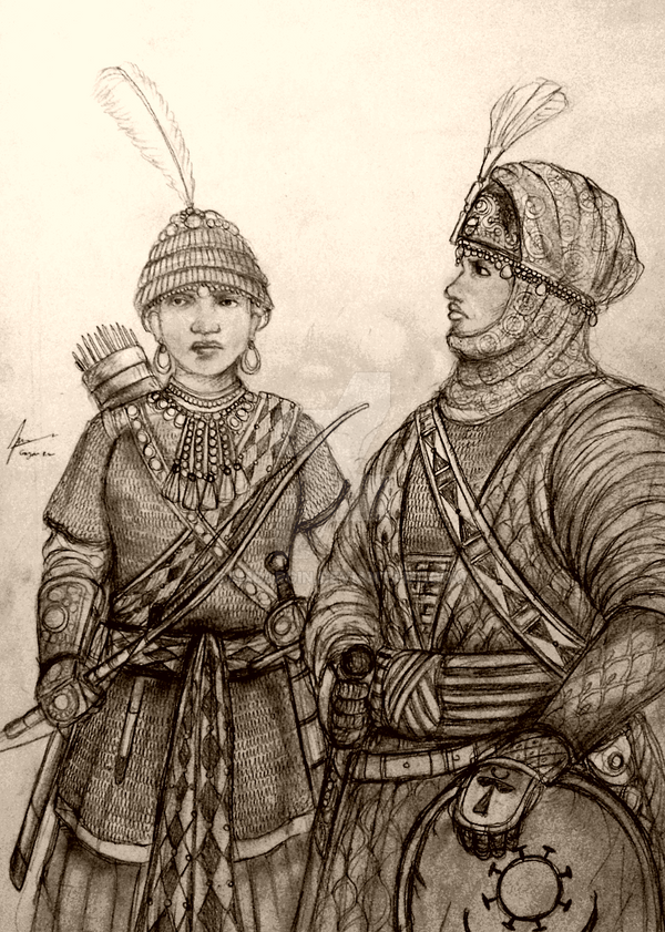 Women Warriors of Africa - Concept Drawing by Gambargin