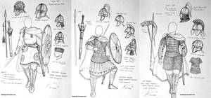 Late Roman Empire Women Warriors Concept Sketch