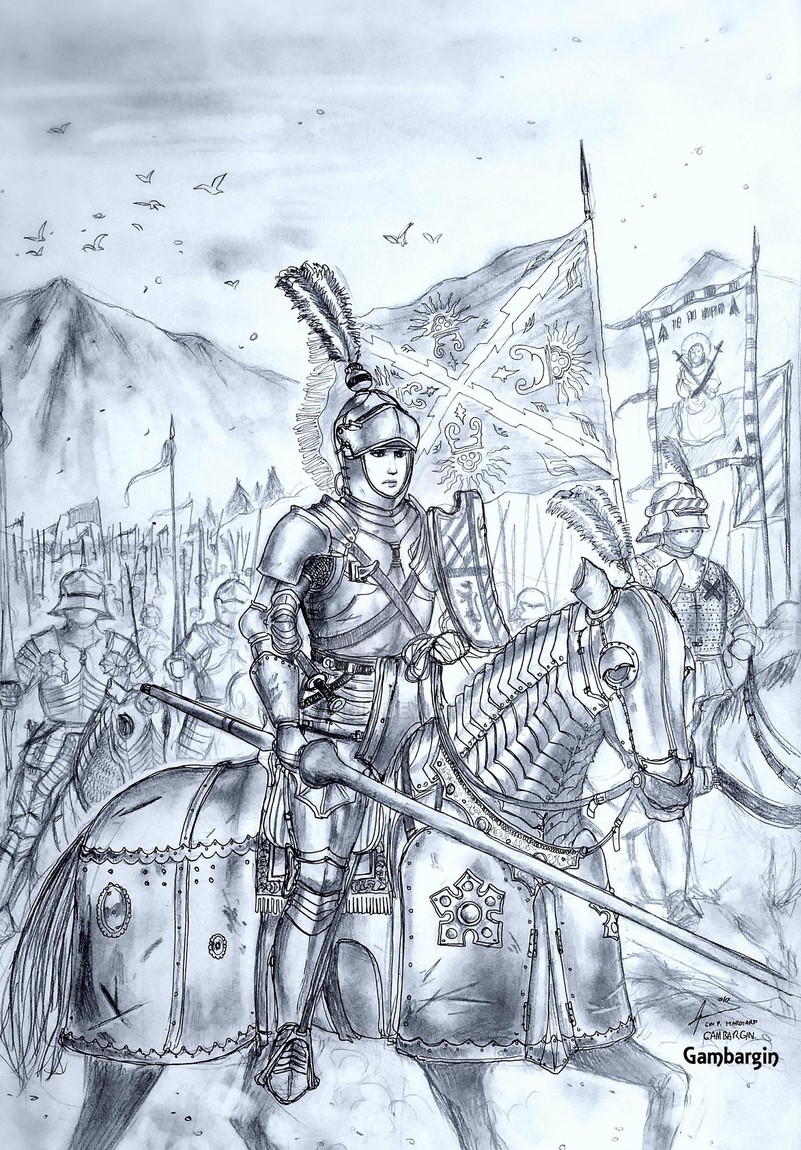 HWS Late Medieval Burgundian Woman Warrior Concept by Gambargin