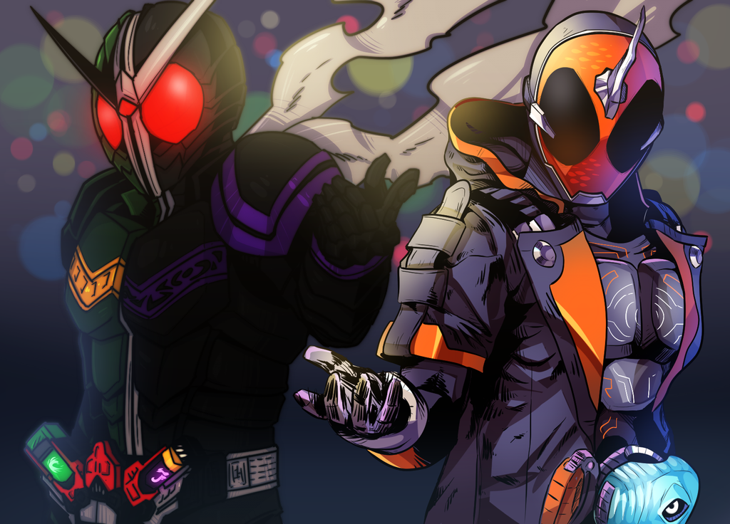 Kamen Rider W x Ghost by Bikubiku-chan
