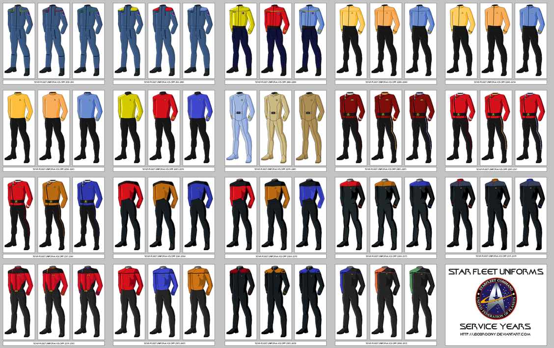 uniforms by jbobroony on deviantart rh deviantart com star trek online discovery uniform color guide star trek online discovery uniform color guide