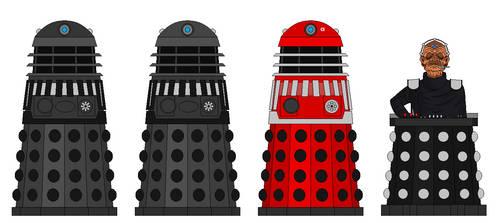 Type 2 Daleks Beta, Omega, Alpha and Davros