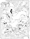 The Fox and the Crow - lineart by taintedsilence
